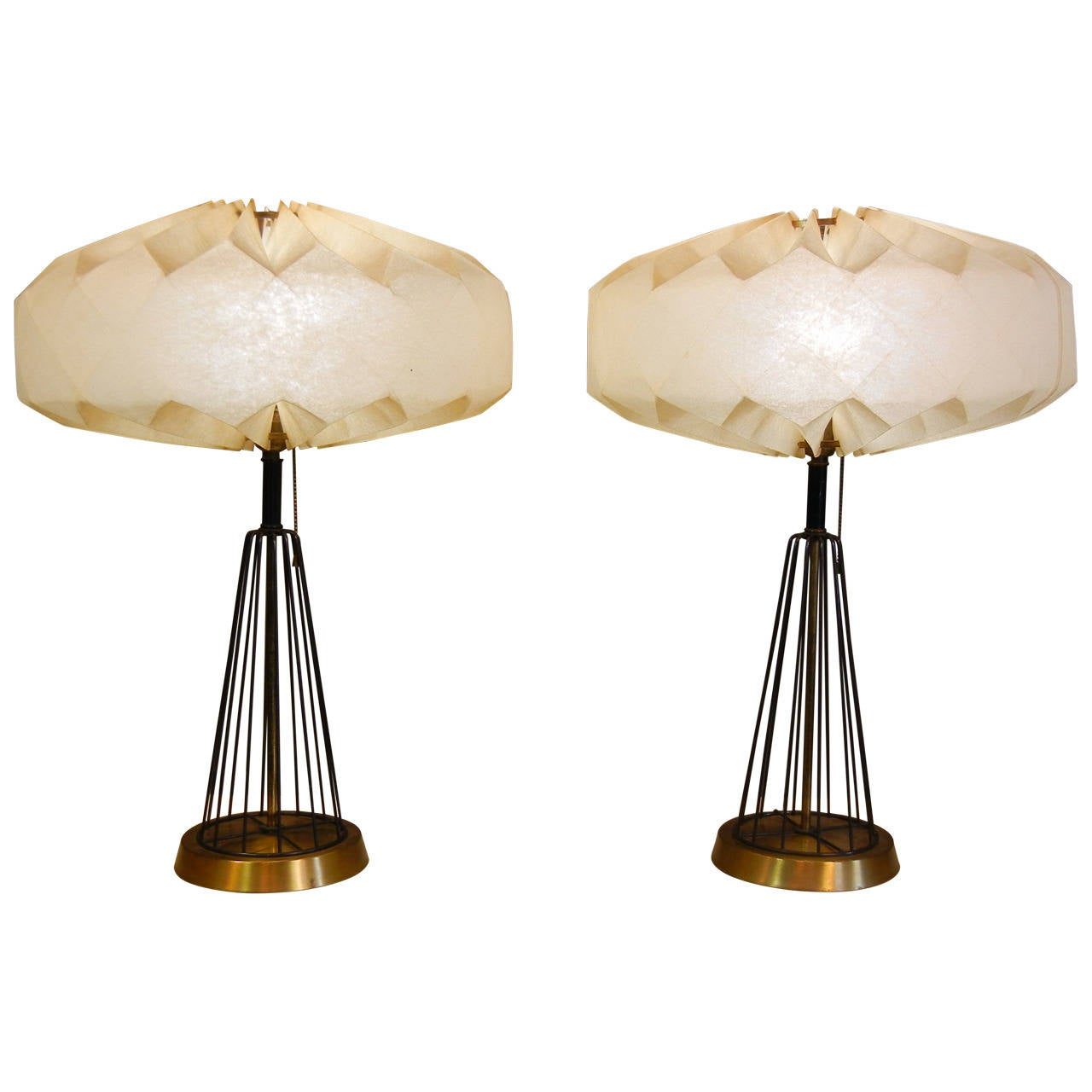 pair of mid century space age table lamps with fiberglass shades at 1stdibs. Black Bedroom Furniture Sets. Home Design Ideas