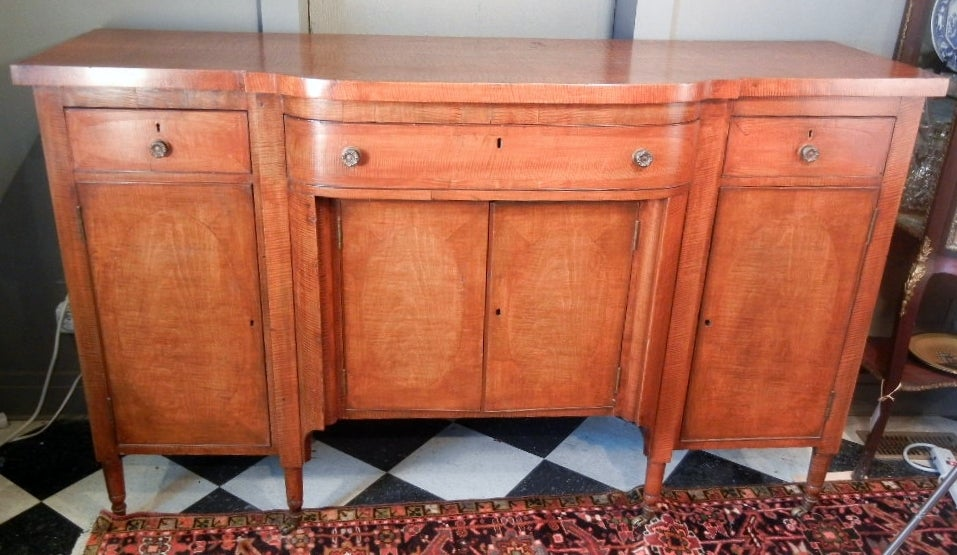 Vermont Sheraton Tiger Maple Sideboard 1810 30 At 1stdibs