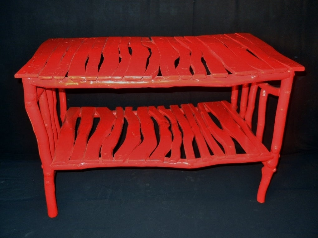 vintage adirondack pop art painted scarlet coffee table at 1stdibs. Black Bedroom Furniture Sets. Home Design Ideas