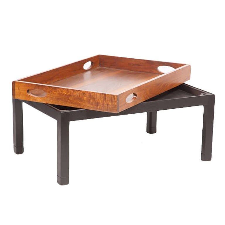Coffee Table Made From Large Mid Century Walnut Butler 39 S Tray On Custom Stand For Sale At 1stdibs