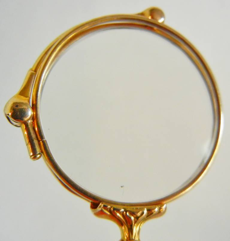 American 14-Karat Yellow Gold Lady's Folding Lorgnette with Ribbon Buckle For Sale