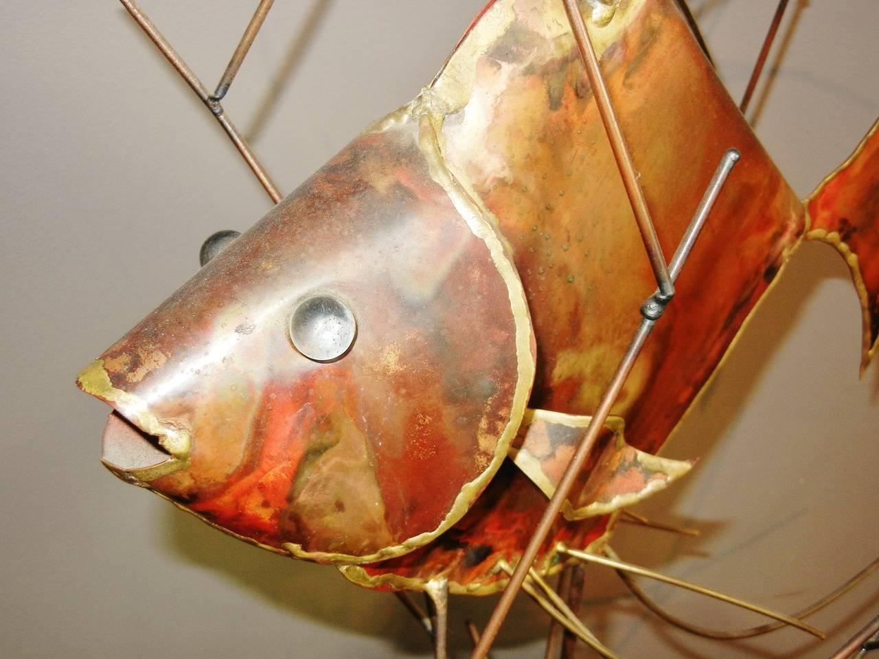 Brutalist Vintage Copper Large Table-Top Fish Sculpture, Alex Kovacs, 1976 For Sale