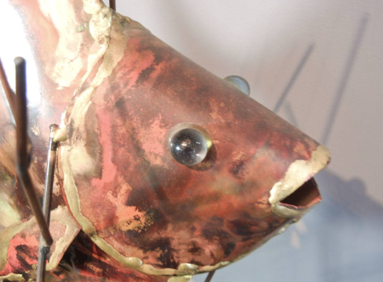 Vintage Copper Large Table-Top Fish Sculpture, Alex Kovacs, 1976 In Excellent Condition For Sale In Quechee, VT