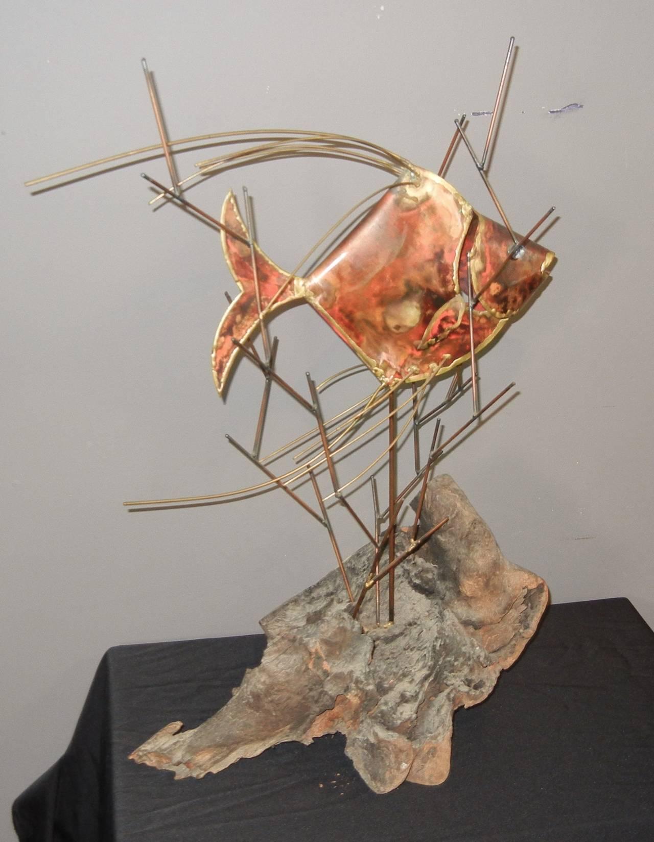 Vintage Copper Large Table-Top Fish Sculpture, Alex Kovacs, 1976 For Sale 1