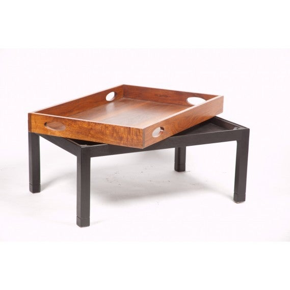 Coffee Table Made from Large Mid-Century Walnut Butler's Tray on Custom Stand 8