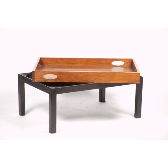 Coffee Table Made from Large Mid-Century Walnut Butler's Tray on Custom Stand 3