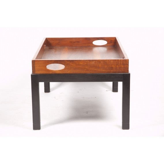 Coffee Table Made from Large Mid-Century Walnut Butler's Tray on Custom Stand 6