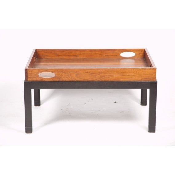 Coffee Table Made from Large Mid-Century Walnut Butler's Tray on Custom Stand 7