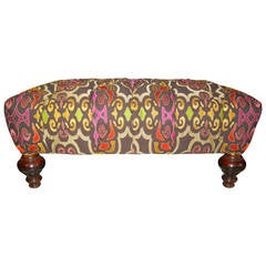 Large Vintage William IV-Style Ottoman in New Anichini Upholstery