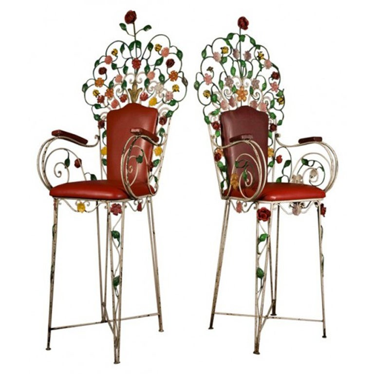 Two Italian Painted Tole And Wrought Iron Garden Bar Chairs 1900 At 1stdibs