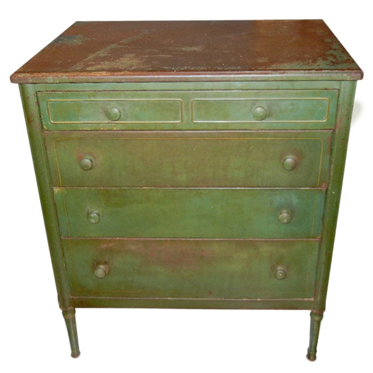 Rare Painted Sheraton Style Industrial Metal Chest Of Drawers At 1stdibs