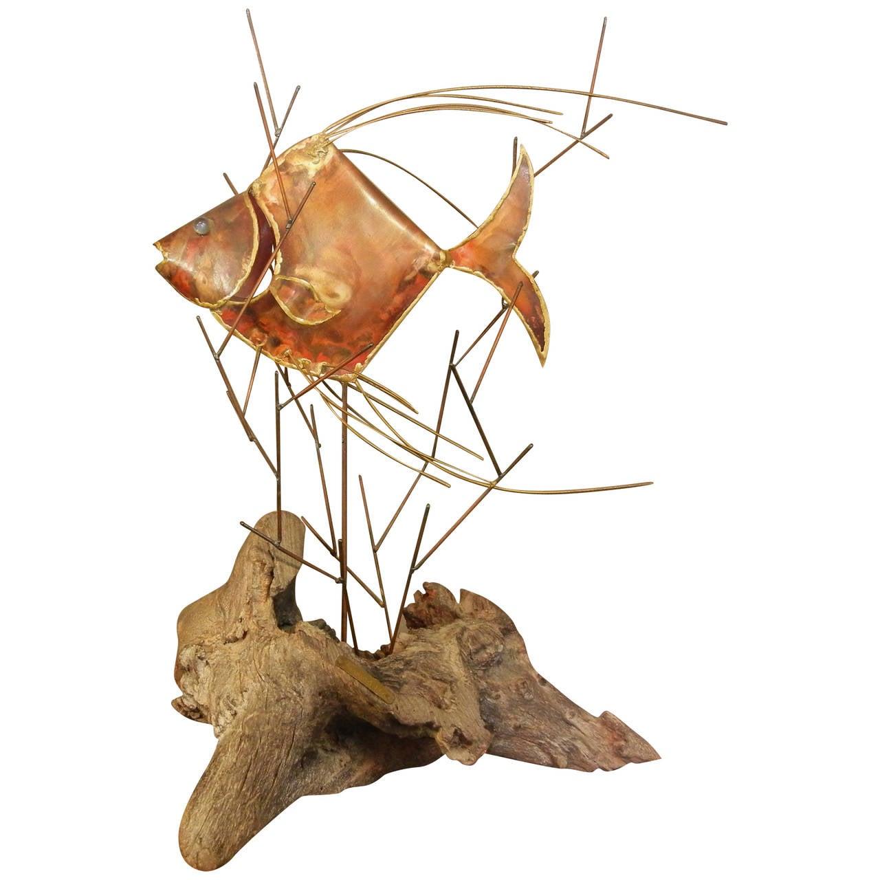 Vintage Copper Large Table-Top Fish Sculpture, Alex Kovacs, 1976 For Sale