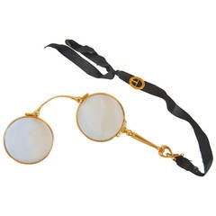 14-Karat Yellow Gold Lady's Folding Lorgnette with Ribbon Buckle
