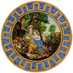 Faience Large Wall Plaque in Le Style Pompadour, 19th Century