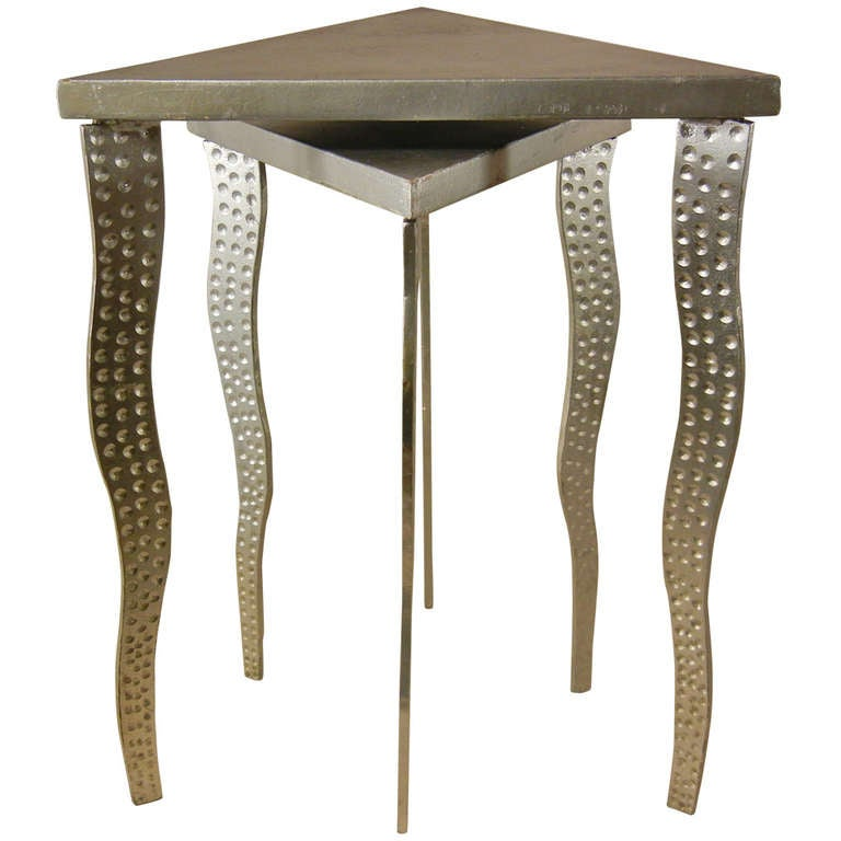 Postmodernism Pair Of Nesting Tables In Steel And Wood At