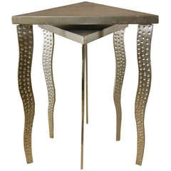 Postmodernism Pair of Nesting Tables in Steel and Wood