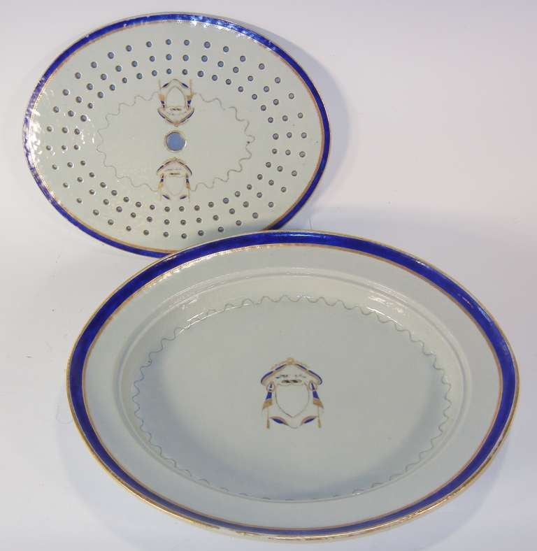Federal Chop Platter with Strainer, Rare Export Marriage Armorial, circa 1790-1810 For Sale