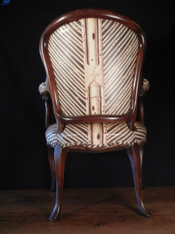 Pair Louis Xv Style Fauteuils In Modern Vinyl Upholstery For Sale At 1stdibs