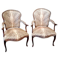 Pair of Louis XV-Style circa 1850 Fauteuils in Modern Vinyl Upholstery