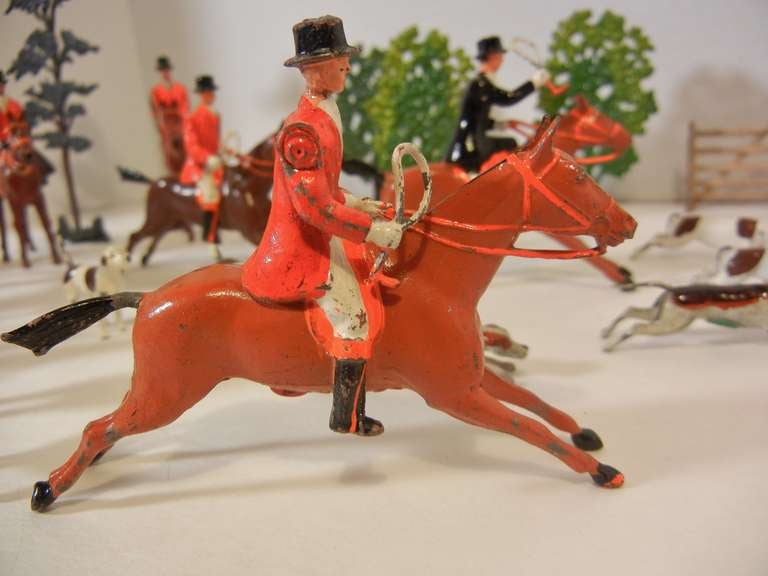 Metal Fox Hunt Vignette of 30 Assembled Toy Figures by Britains Ltd., England 1920-60 For Sale
