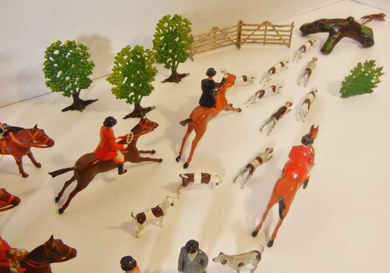 British Fox Hunt Vignette of 30 Assembled Toy Figures by Britains Ltd., England 1920-60 For Sale