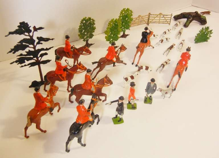 Modern Fox Hunt Vignette of 30 Assembled Toy Figures by Britains Ltd., England 1920-60 For Sale