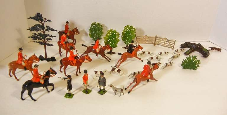 This fox hunting vignette is the perfect gift for the horse and dog enthusiast, and for the nostalgia of childhood and a changed sport.   It is assembled from the Britains Ltd. toy sets entitled