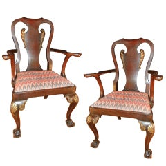 Pair of George II Carved and  Parcel-Gilt Walnut Arm Chairs