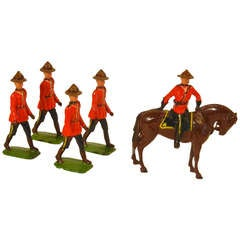 Royal Canadian Mounted Police, 5 Toy Figures by Britians Ltd.