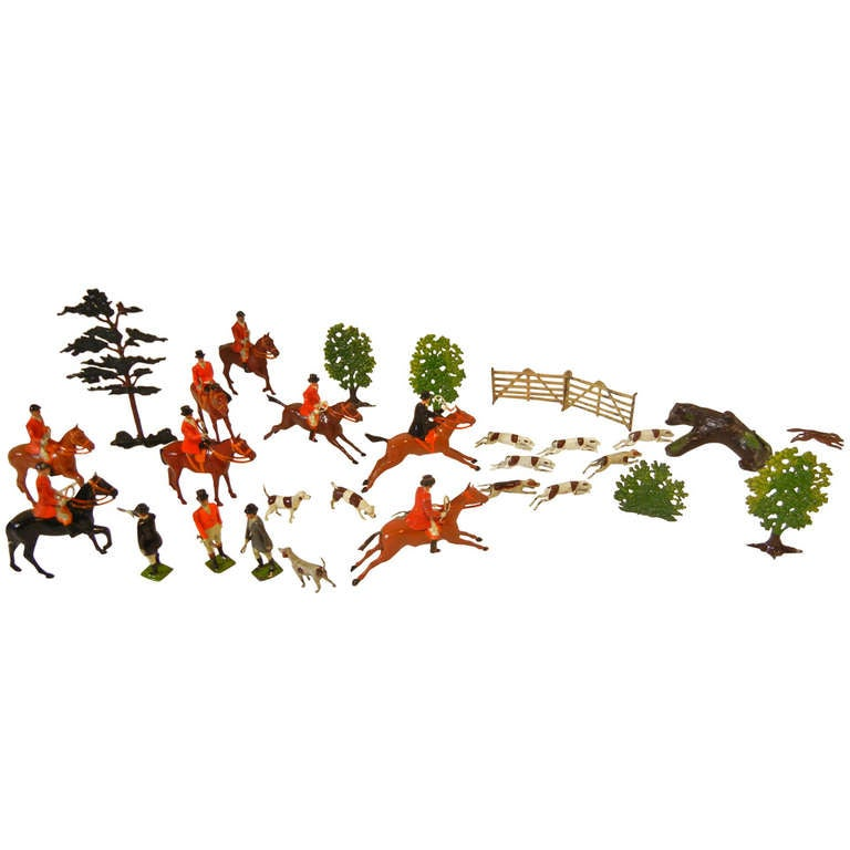 Fox Hunt Vignette of 30 Assembled Toy Figures by Britains Ltd., England 1920-60 For Sale