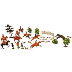 Fox Hunt Vignette of 30 Assembled Toy Figures by Britains Ltd., England 1920-60