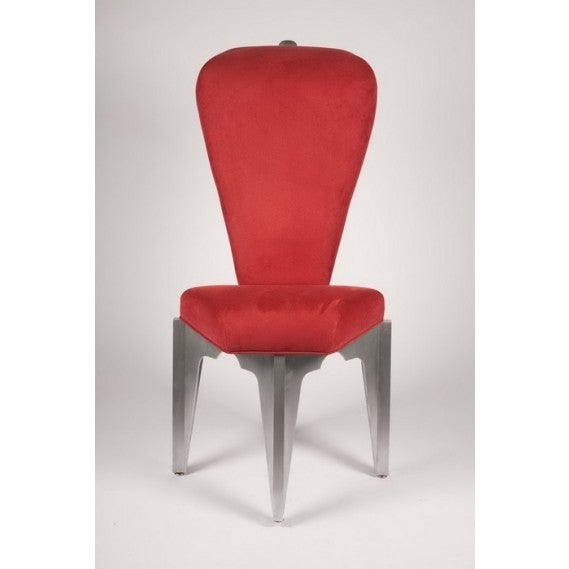 Sculpture as furniture, with aircraft-grade fabricated aluminum base, red micro-suede upholstery over carved foam cushions and with stainless steel bolts and foot adjusters. Signed and dated by the artist, Bilhenry Walker of Milwaukee,