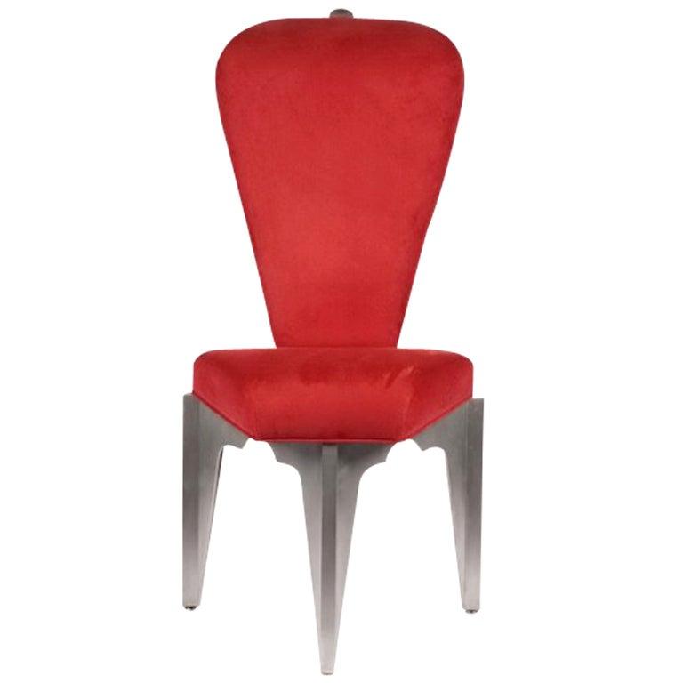 Diamond Spine Sculptural Aluminum Side Chair by Bilhenry Walker For Sale
