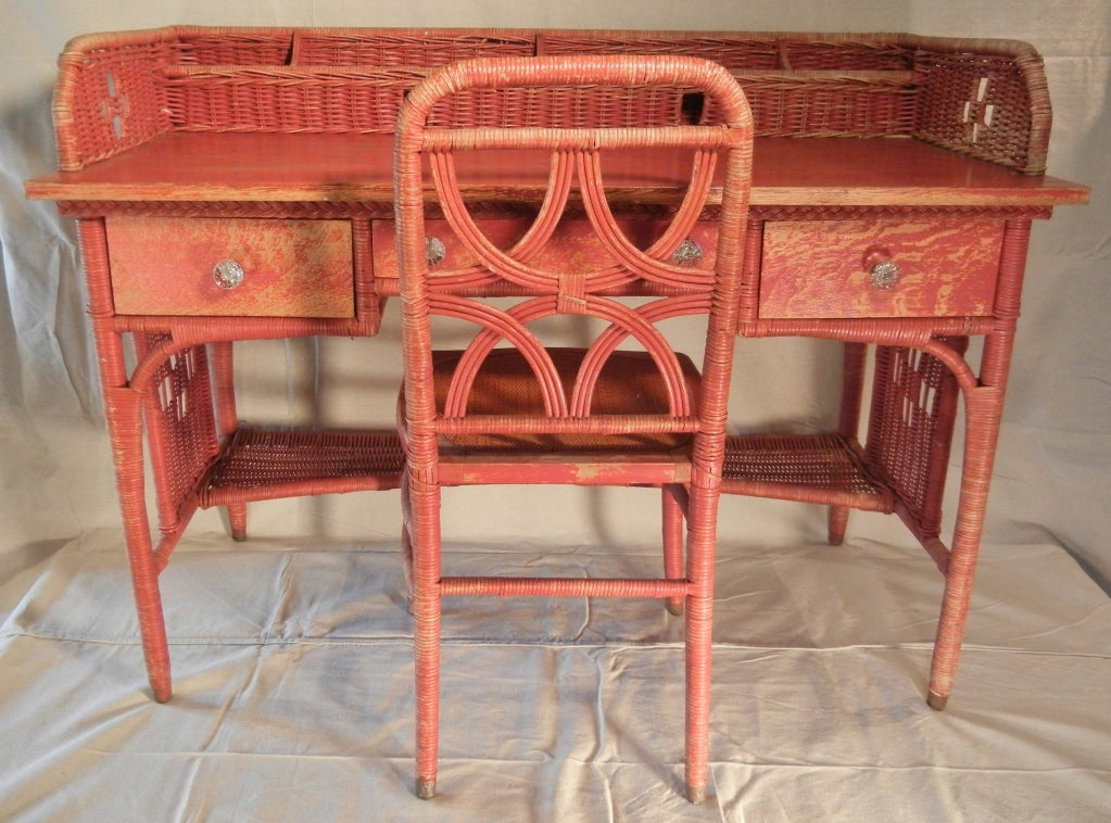 Impressive-sized red-painted wicker writing desk, 1897-1921, from a - Adirondack Camp Large Red-Painted Antique Wicker Writing Desk At 1stdibs