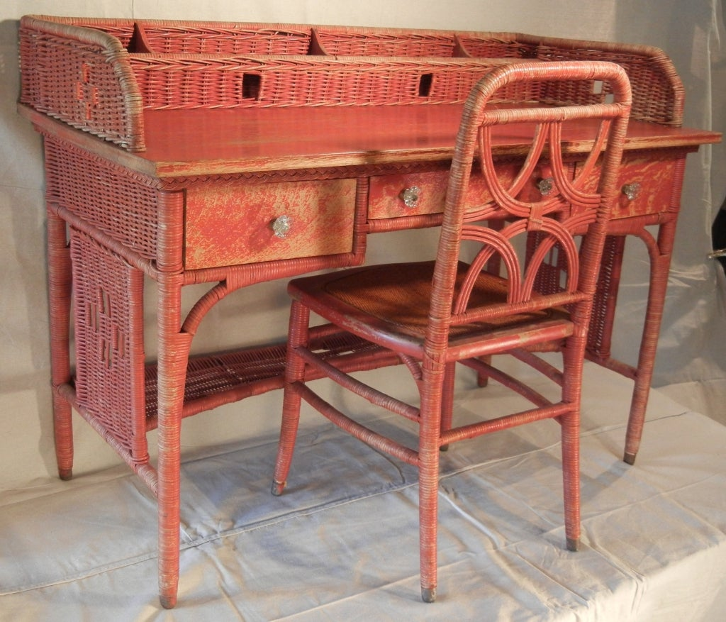 American Adirondack Camp Large Red-Painted Antique Wicker Writing Desk For  Sale - Adirondack Camp Large Red-Painted Antique Wicker Writing Desk At 1stdibs