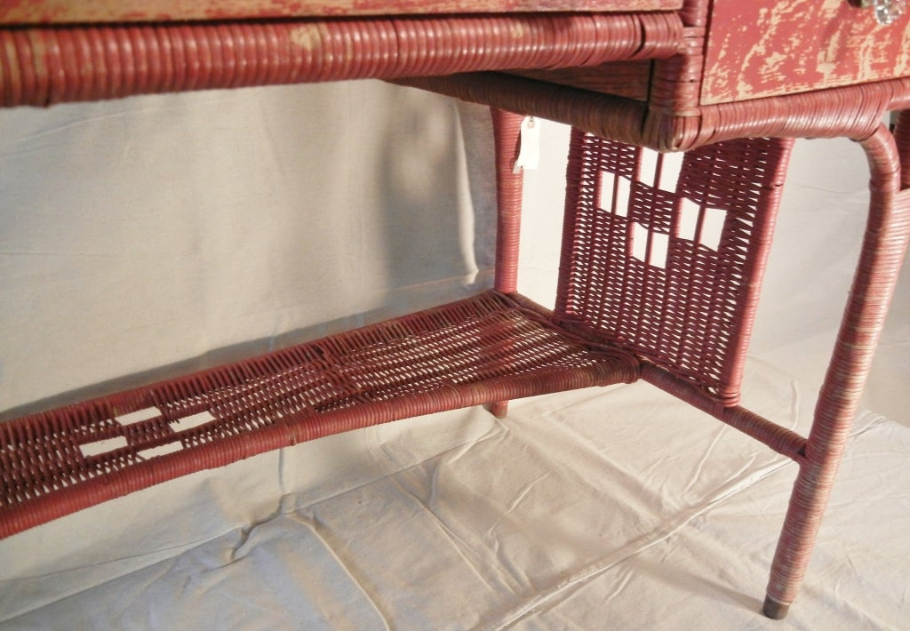 Adirondack Camp Large Red Painted Antique Wicker Writing