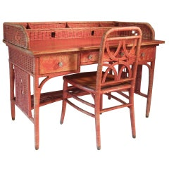 Adirondack Camp Large Red-Painted Antique Wicker Writing Desk