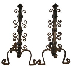 Arts & Crafts Period Large Forged Iron Bungalow or Camp Andirons