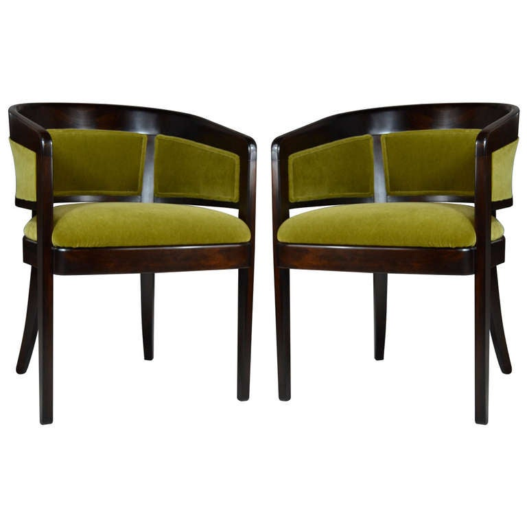Pair Of Chartreuse Mohair Armchairs By Edward Wormley At