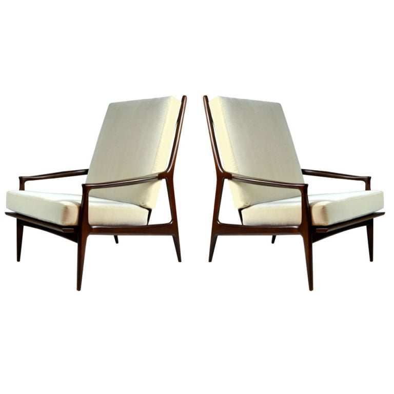 "Pair of Highback ""Archie"" Lounge Chairs by Milo Baughman at 1stdibs"