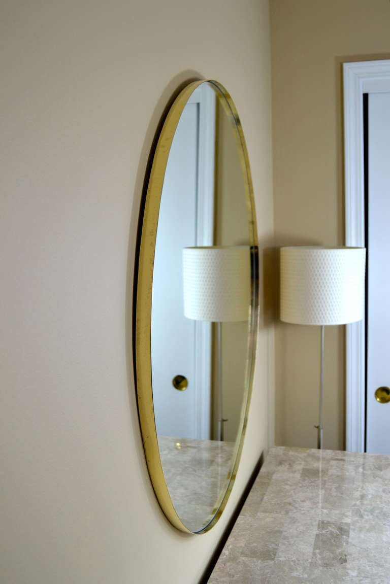 Mid century italian 36 round brass framed mirror at 1stdibs Round framed mirror