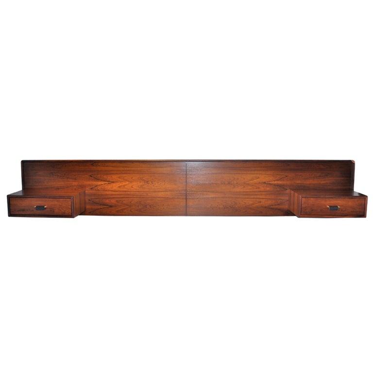 Danish Modern Rosewood Floating Headboard & Nightstands