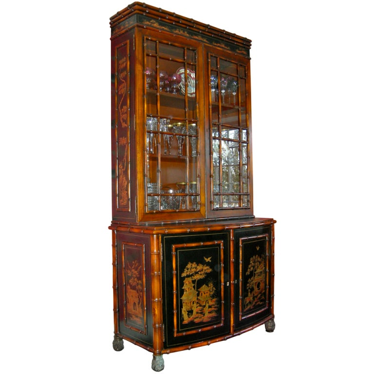 Bamboo Chinoiserie Style China Cabinet At 1stdibs