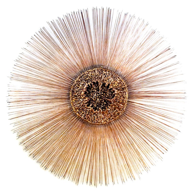 "42"" Colossal Copper Sunburst Wall Sculpture - Curtis Jere"