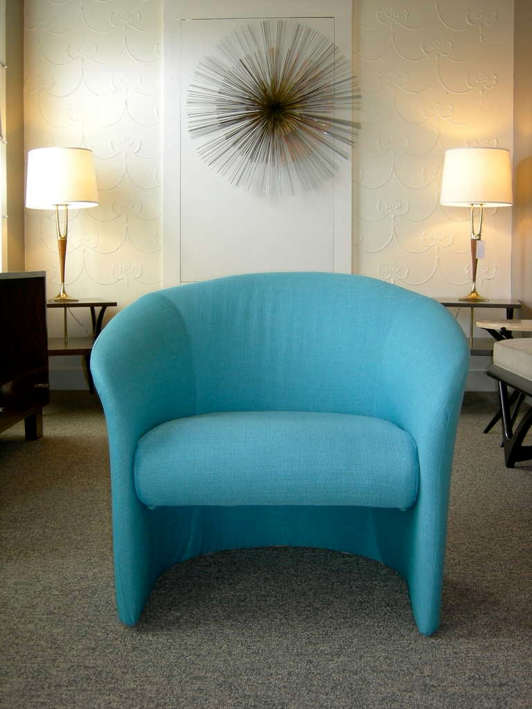 Pair Of Tiffany Blue Accent Chairs By Massimo Vignelli At