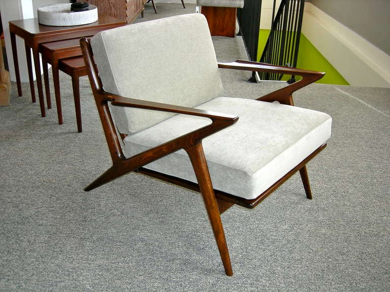 Gentil Pair Of Modern Chairs Designed By Poul Jensen For Selig, Newly Refinished  And Upholstered.