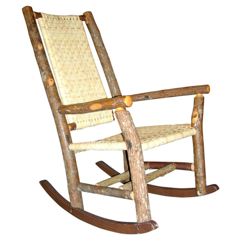 Rustic handmade rocking chair at 1stdibs