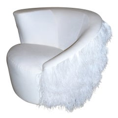 White Velvet and Boa Swivel Chair by Vladimir Kagan