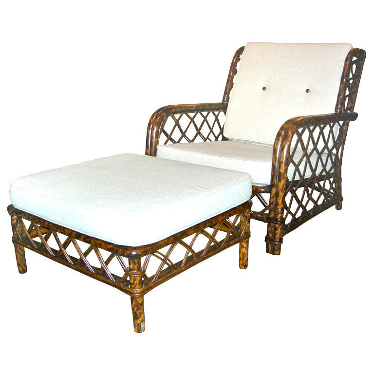 Tortoise Shell Lacquered Chair And Ottoman By Ficks Reed