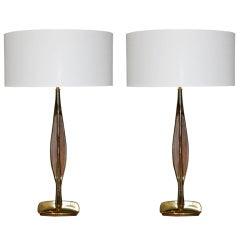 Brass & Walnut Table Lamps by Laurel Co.